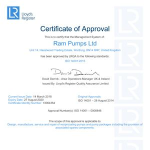 Ram Pumps Attains ISO 14001:2015 Accreditation